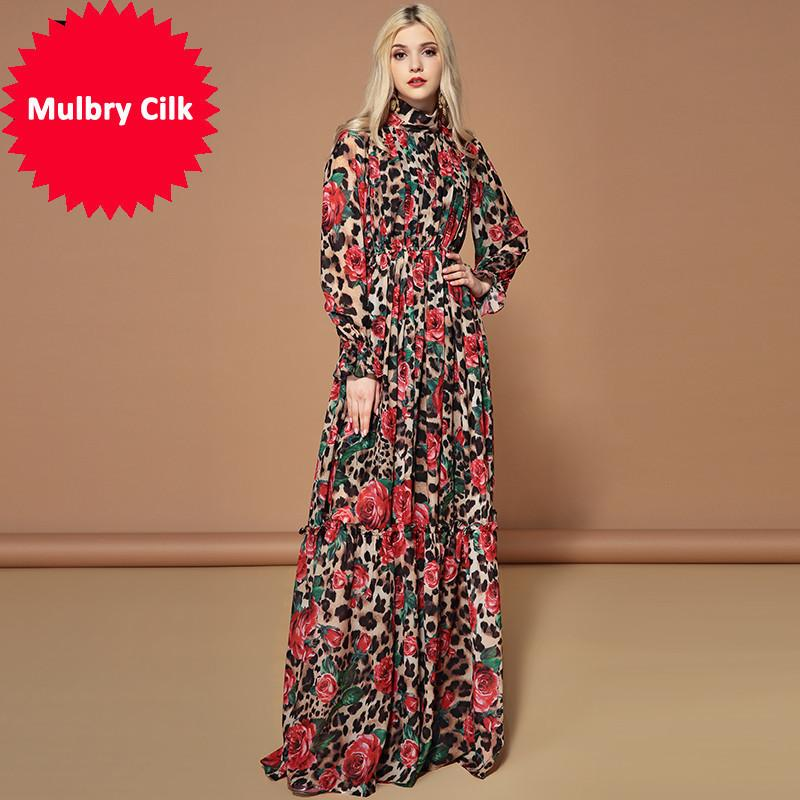 68398c23736c Fashion Runway Long Sleeve Maxi Dresses Women Elegant Party Rose Floral Long  Dress Holiday Dress Leopard Print Women Sundress Juniors Party Dress From  ...