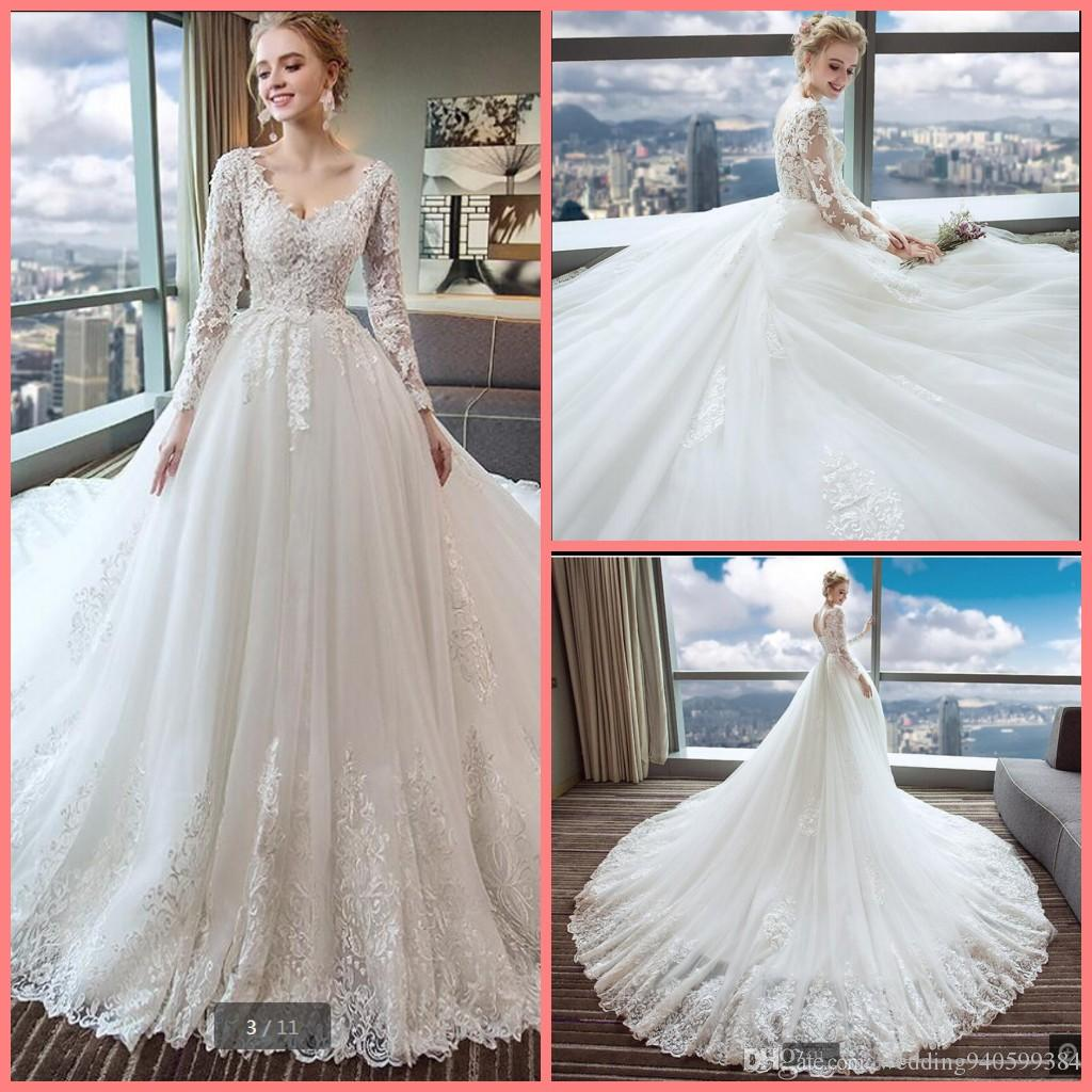 Robe de mariage ball gown white lace appliques princess wedding dress v neck long sleeve elegant corset/lace up bride gowns 2019 best sale