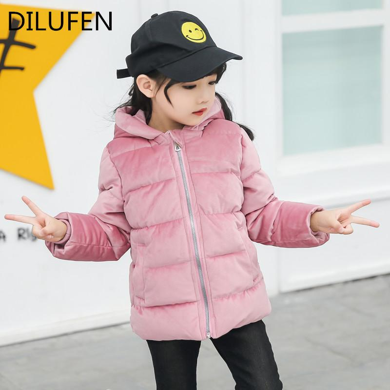 01e6b2f43c29 DILUFEN 2018 Baby Winter Cotton Coat Baby Girl Candy Cute Thick Down ...