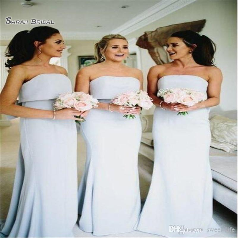 2019 Satin Bridesmaid Dresse Sheath Strapless Wedding Party Gowns Floor Length Sexy Sleeveless Maid of Honor Dress