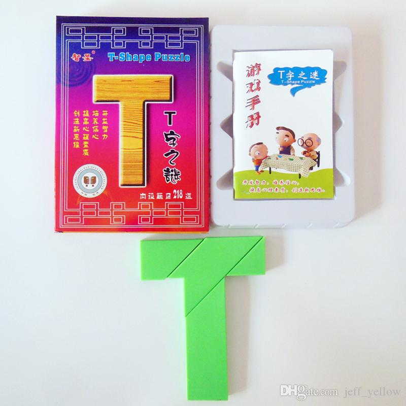 Free shipping T-word puzzle Chinese classical child brain game Four  skillful board Puzzle 218 species spelling