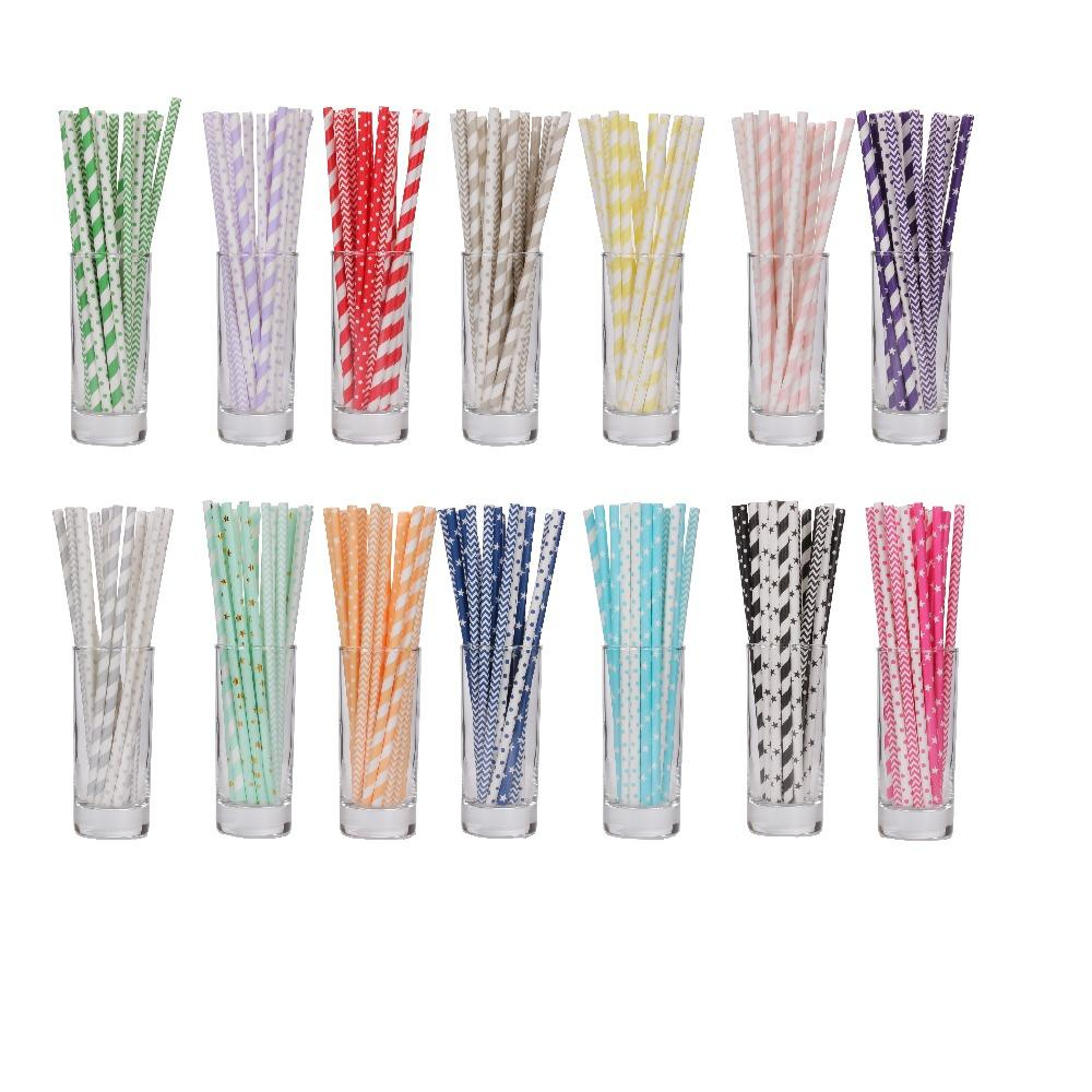 25pcs/lot mix color point striped birthday valentines Drinking Paper Straws bachelor party children birthday party decor