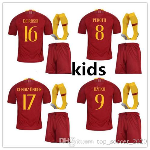 24f20c051 2018 2019 ROMA ROSSI SOCCER JERSEY Kids Kit +soccks 18 19 ROME New Home  Totti EL SHAARAWY Home Kids Soccer Jersey with Socks ROME Totti ROSSI  Online with ...