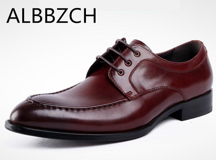 Elegant Leather Shoes Men Large Size 11 12 British Derby Shoes Business Man Pointed Toe Formal Dress Wedding Shoes Hight End Men's Shoes Formal Shoes