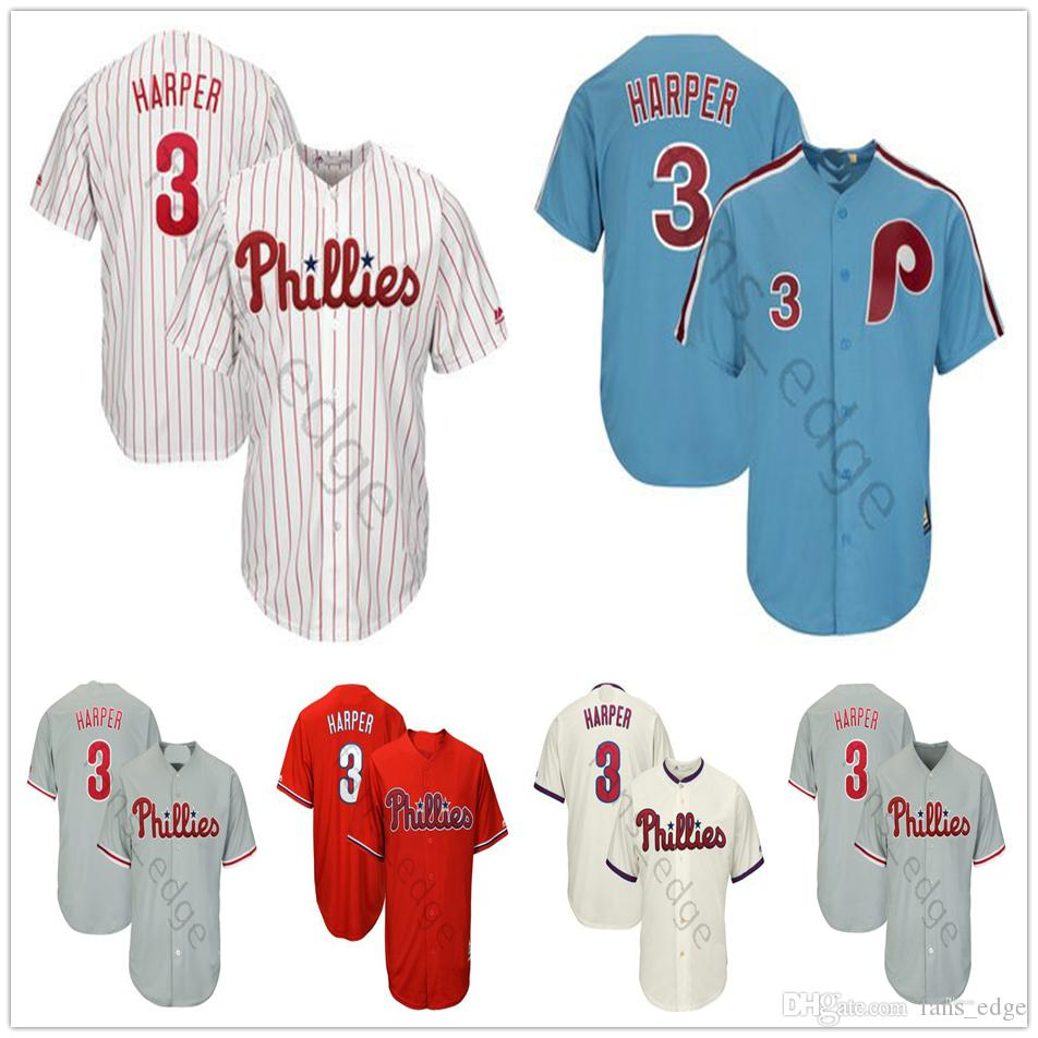 new arrivals 03486 fae56 2019 New Arrival Philadelphia #3 Bryce Harper Jersey Red stripe Blue White  Mesh Majestic Cool Base Bryce Harper Phillies Baseball Jerseys