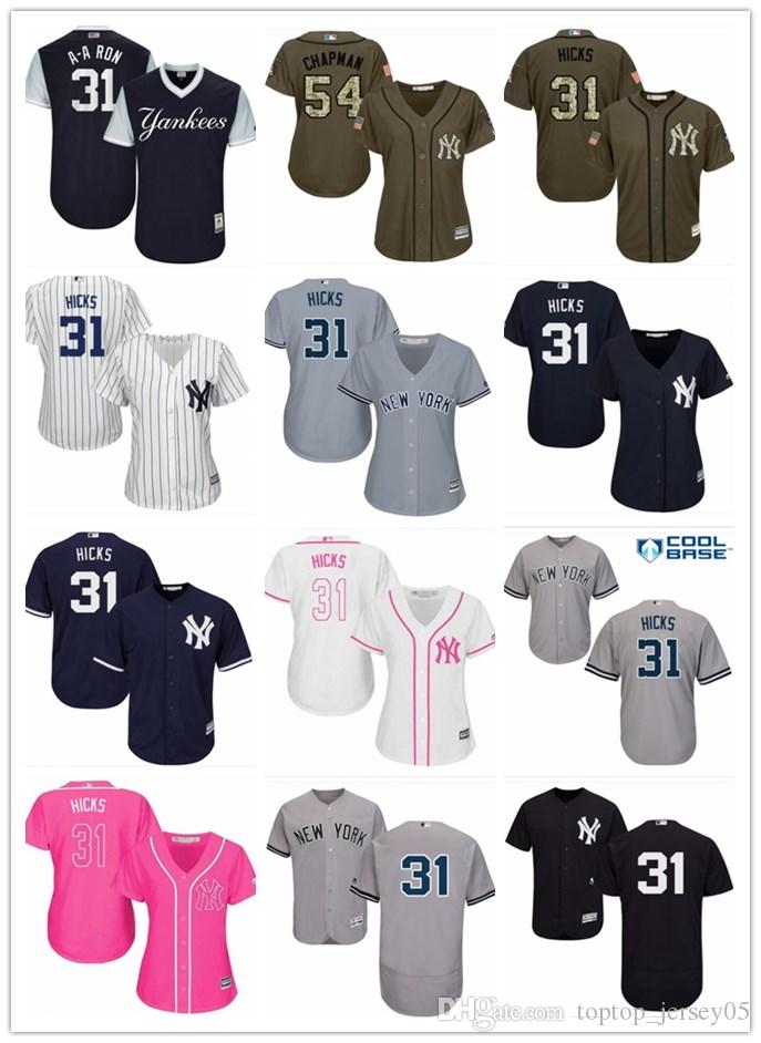 2019 2018 Top New York Yankees Jerseys  31 Aaron Hicks Jerseys  Men WOMEN YOUTH Men S Baseball Jersey Majestic Stitched Professional  Sportswear From ... bae66303df4