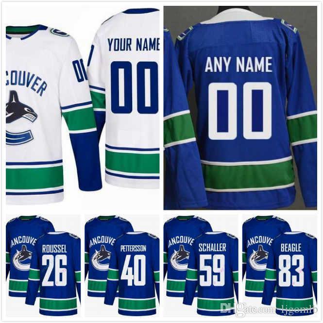 newest 0888b f798a Custom Vancouver Canucks Jay Beagle Jersey 83 Adam Gaudette 88 Antoine  Roussel 26 Tim Schaller 59 Josh Leivo 17 Elias Pettersson 40 S-3XL