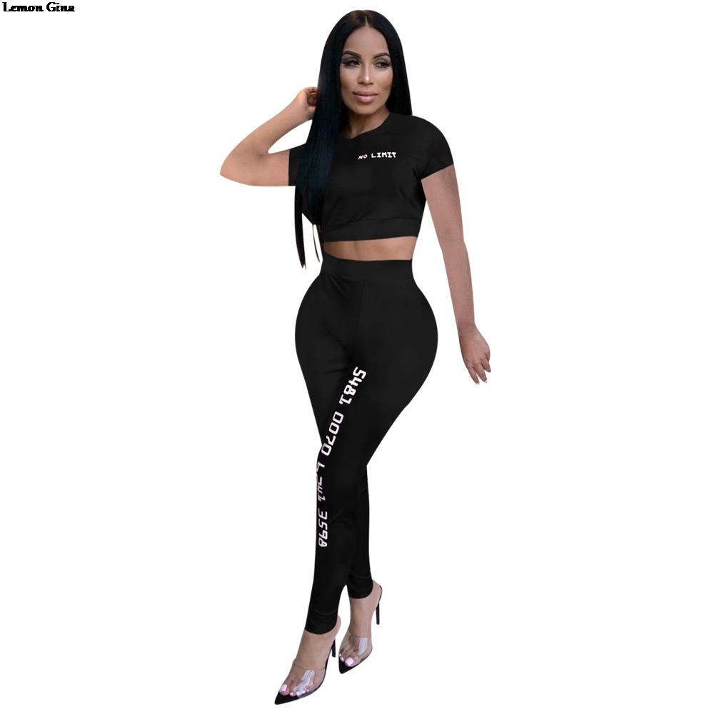 f20226115c410 2019 Lemon Gina 2019 Summer Women Letter Print O Neck Short Sleeve Tee Top  Skinny Leggings Suits Two Piece Set Tracksuit Outfit M890 From Afternan