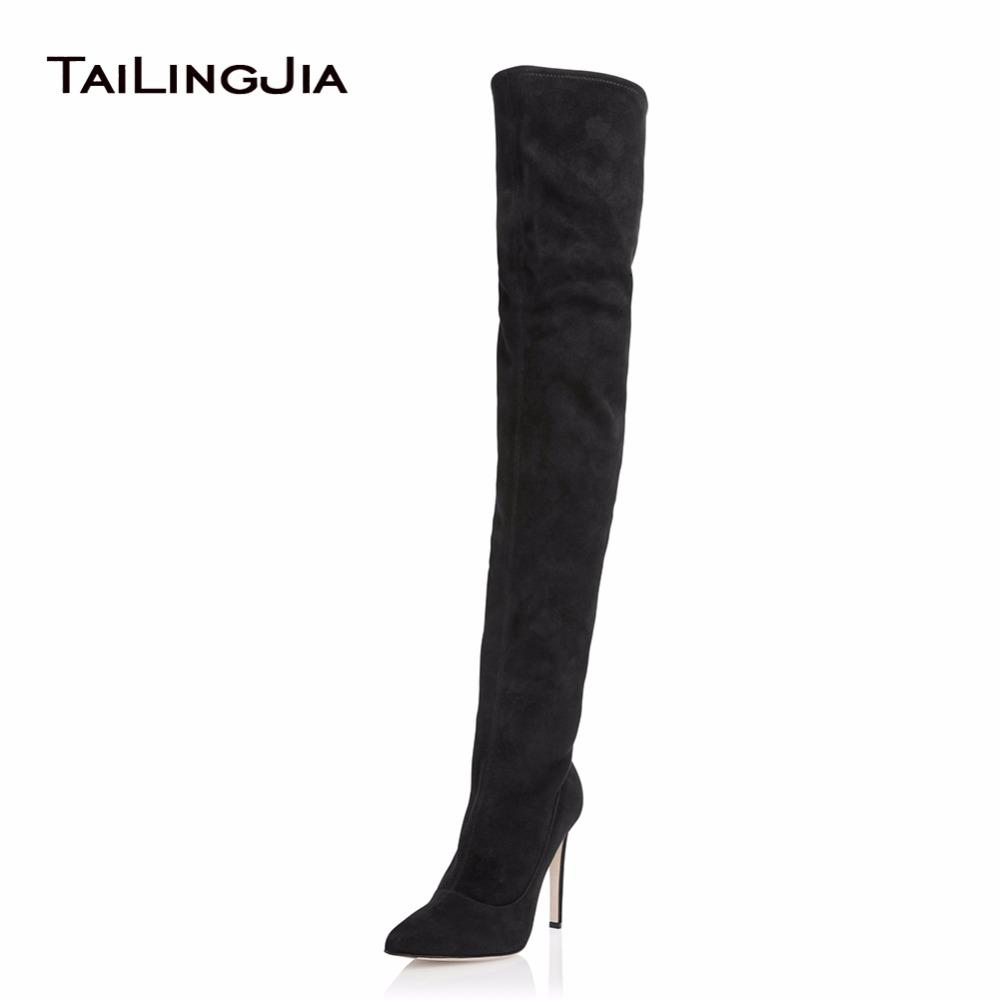12996796dfd Women High Heel Black Stretch Suede Over Knee Thigh High Boots Ladies  Pointed Toe Heel Winter Keep Warm Shoes Biker Boots Boots For Men From  Backyar