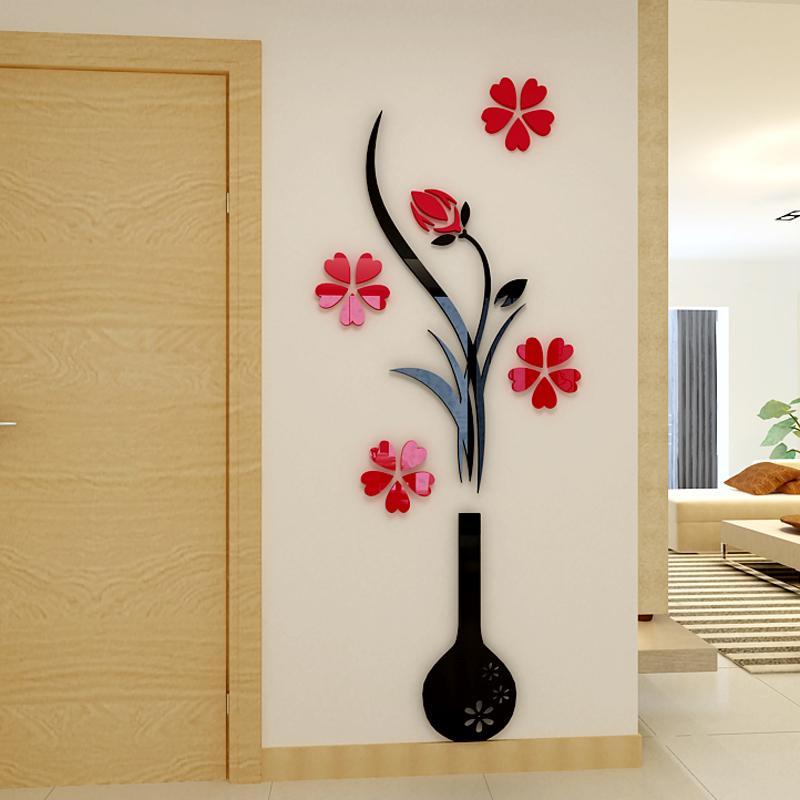 fashion plum vase 3d wall stickers flower entrance diy art wall