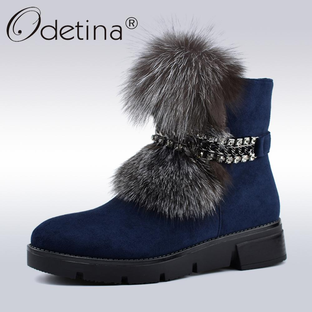 5b5f3ff62e5 2019 Odetina New Fashion Luxury Fox Fur Metal Chain Snow Boots Women  Platform Soft Wedge Heels Winter Thick Plush Women Ankle Boots Office Shoes  High Heels ...