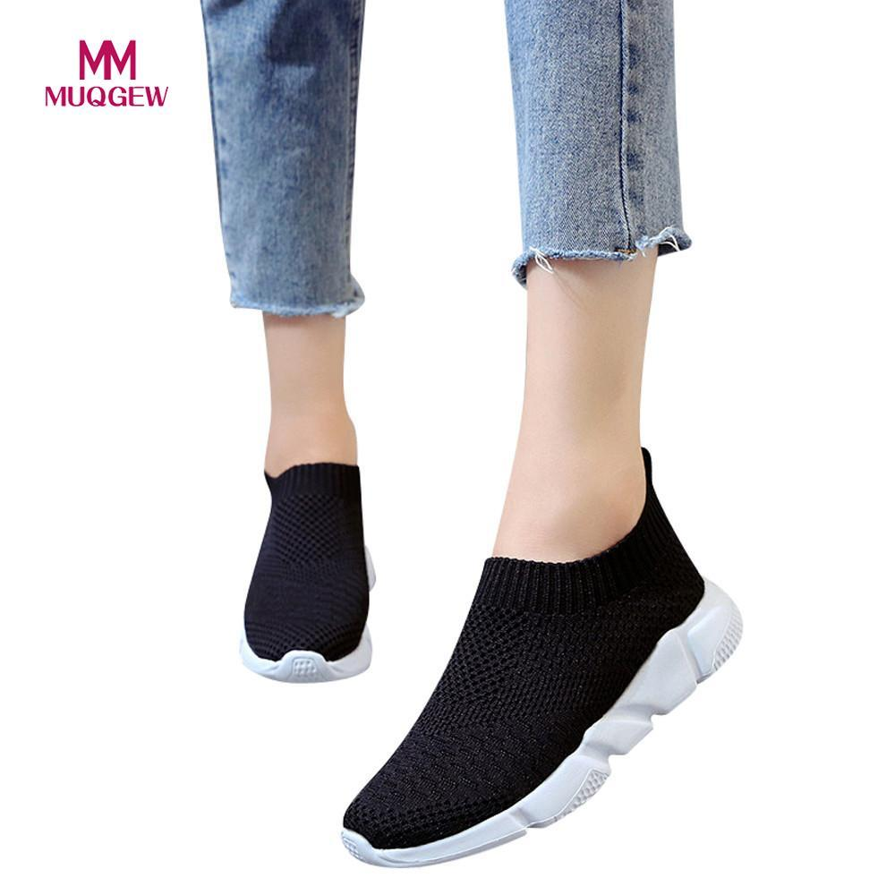 Women Mesh Shoes Sneakers Girls Outdoor Casual Slip On Comfortable Soles Running Sports Shoes Flat with Soft Flat