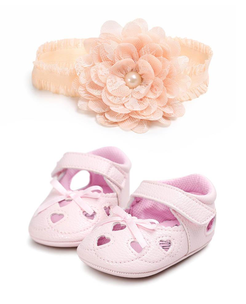 Cute newborn baby girl shoes princess infant shoes + floral lace baby headbands Toddler Sandals Newborn First Walker