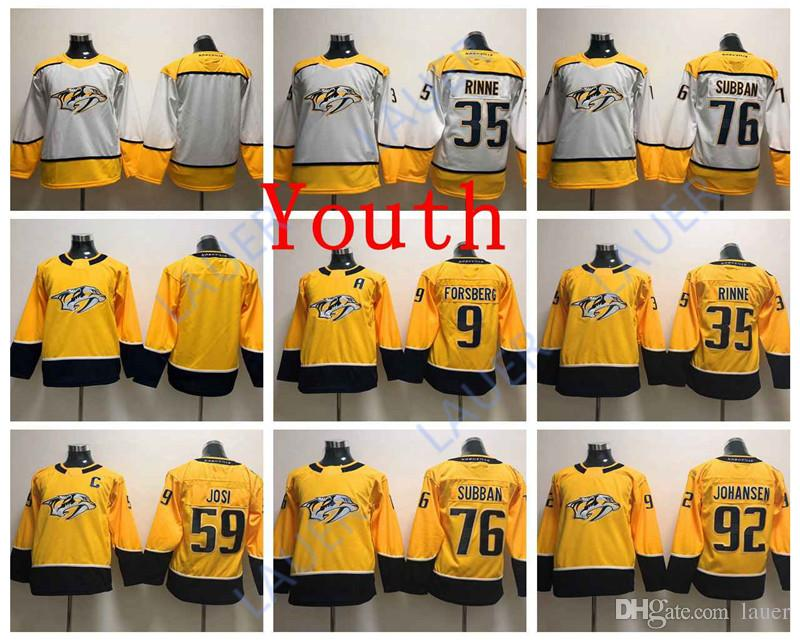 low priced 5684a 6a251 Youth Nashville 76 P.K. Subban Predators Jerseys 59 Roman Josi 35 Pekka  Rinne 9 Filip Forsberg 92 Ryan Johansen Stitched Hockey Kid