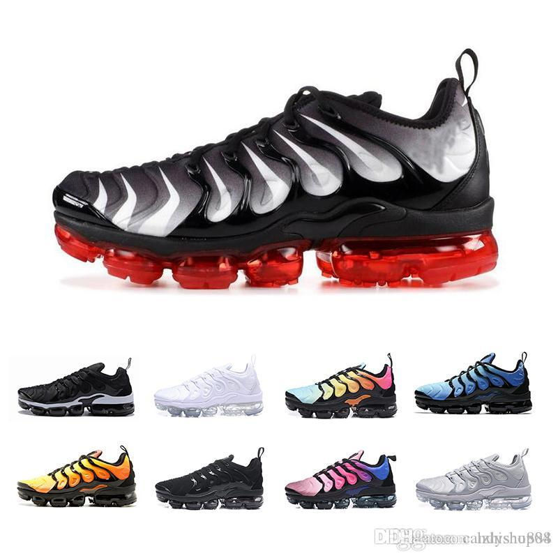 official photos 6e4cc 7c35c Acheter Nike Air Max 2019 Plus TN Chaussures De Course Hommes Femmes Volt  Grape Retuned Air Triple Blanc Noir Hyper Violet BETRUE Designer De Luxe  Sports ...