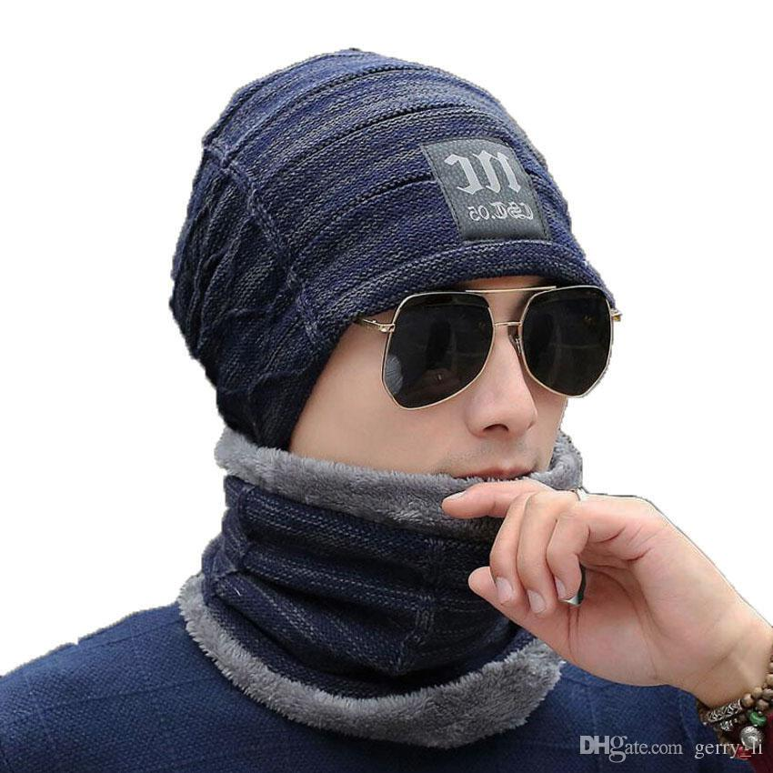 141db6a7cfb Warm Winter Men Hat Scarf For Wool Women Skull Slouchy Caps And ...