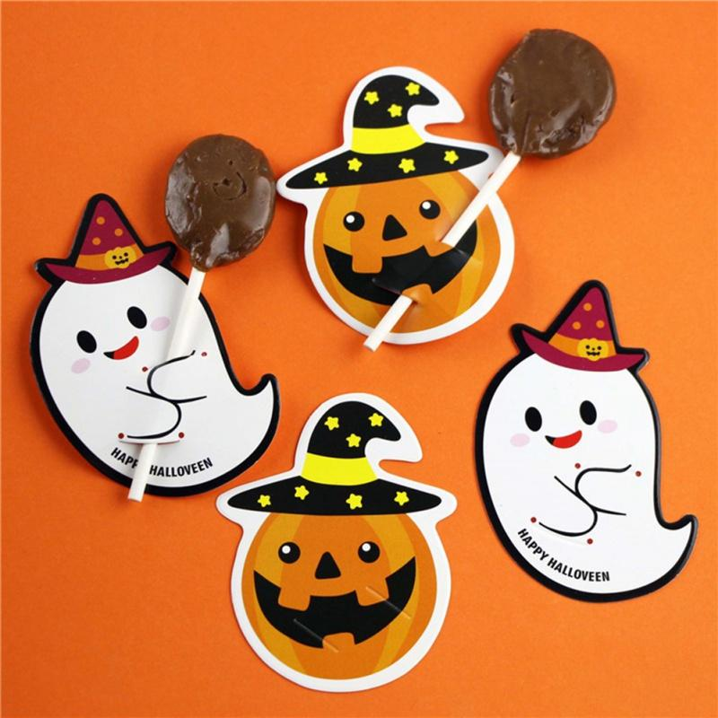 50PCS Halloween Pumpkin Ghost Lollipop Paper Card Halloween Cake Pop Holder Card Sugar Candy Chocolate Decoration Label