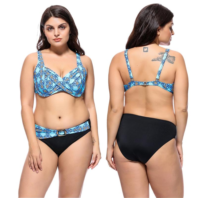 caea5b30c15c6 2019 New Plus Size Bikini Women Swimsuit Floral Print Bathing Suit Big Cup  Retro Vintage Swimwear 3XL 7XL Backless Bikini Set From Luanxiaobo