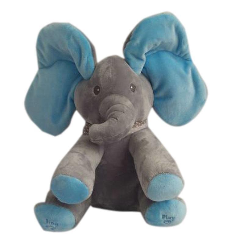 28cm Peek A Boo Elephant Stuffed Animals Plush Doll Music Elephant