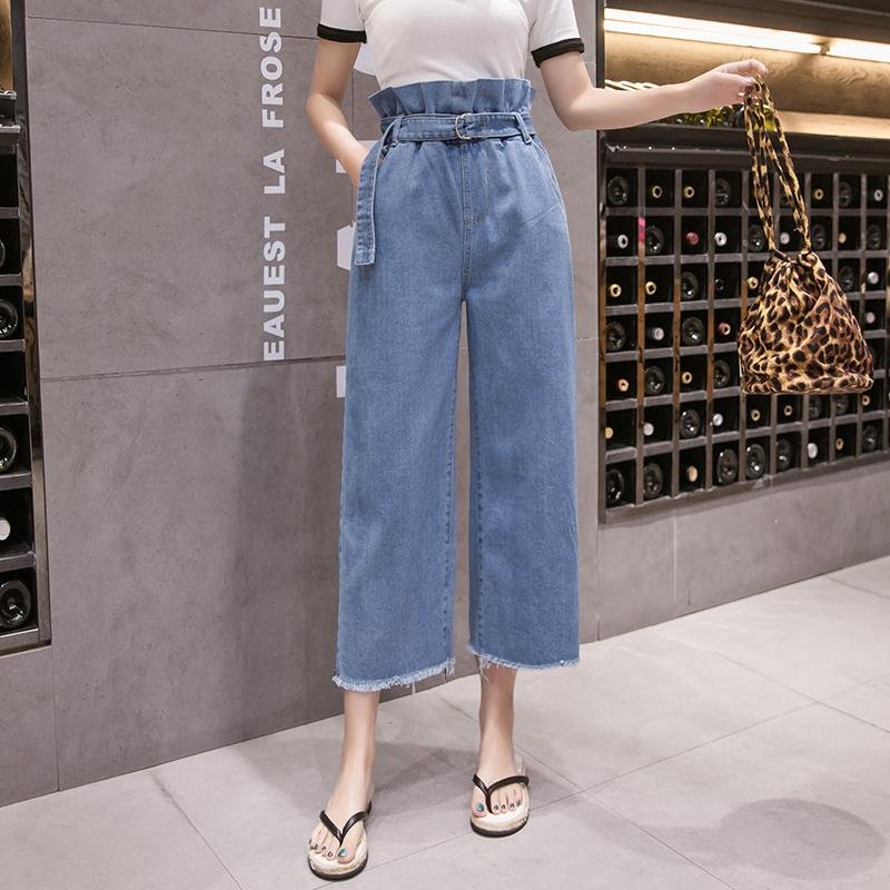 6e4881b8185af 2019 Women Jeans Denim Pants 2019 Spring Summer Fashion Female Vintage  Loose Casual Elastic Waist Jeans Demin Wide Leg Pant Trousers From Jilihua