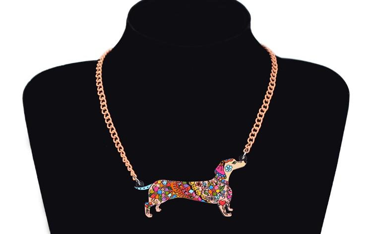 Bonsny Brand Jewelry Sets Acrylic Statement Dachshund Dog Necklace Earrings Choker Collar Fashion Jewelry For Women Girl