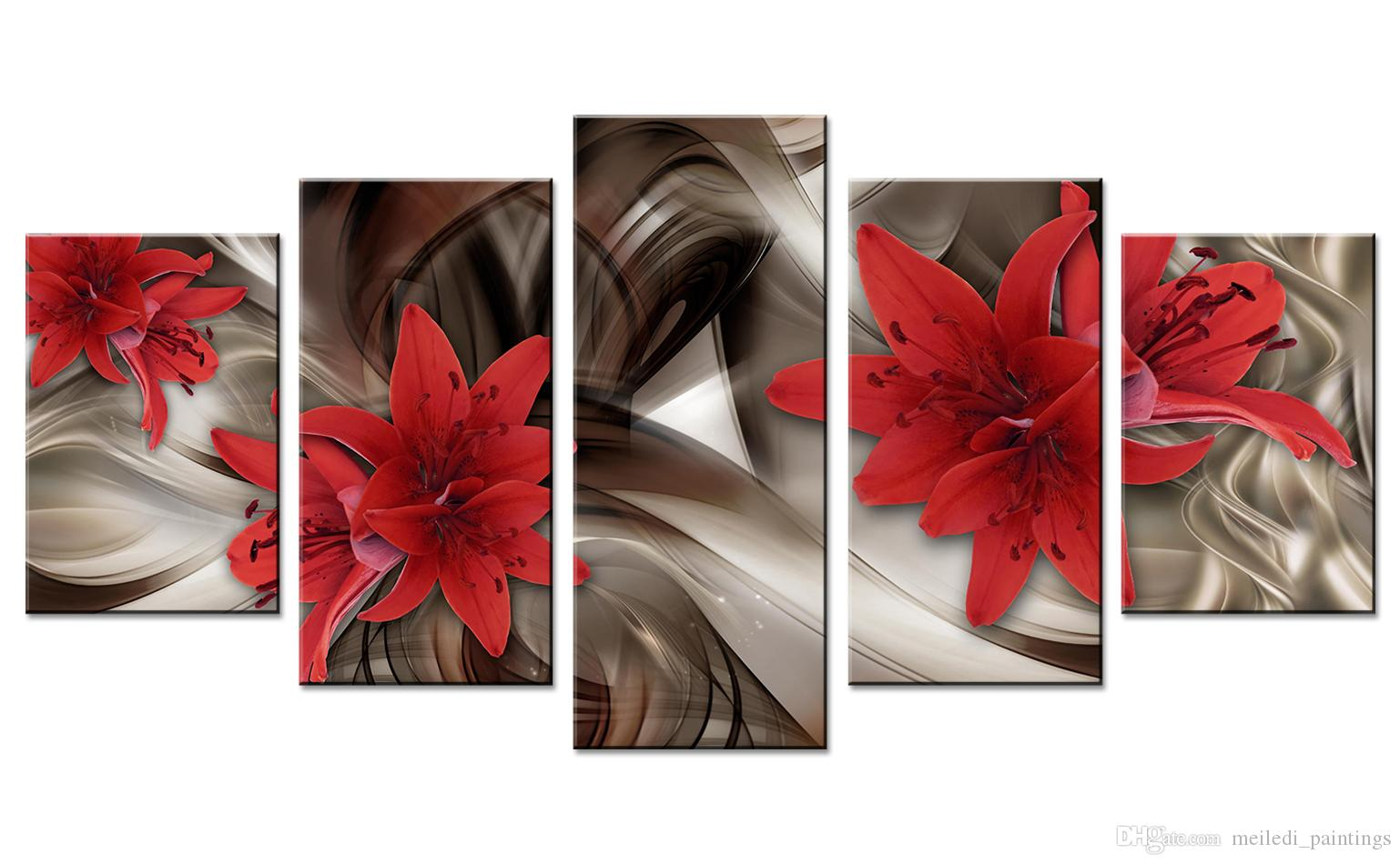 Abstract line background red lily flowers canvas modern wall art painting home decoration unframed 5 pieces for chirstmas gift
