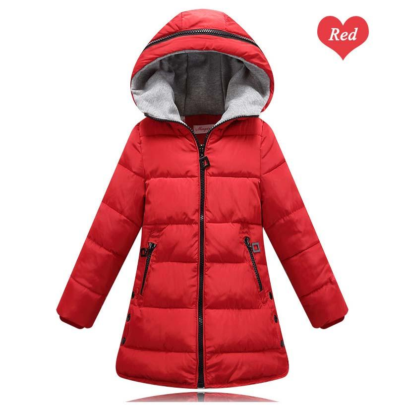 2017 Children's Clothing for Kids Teenage Girls Hooded Jacket Coat Fall Winter Thermal Warm Cotton Padded Parkas 3-12T Red Black