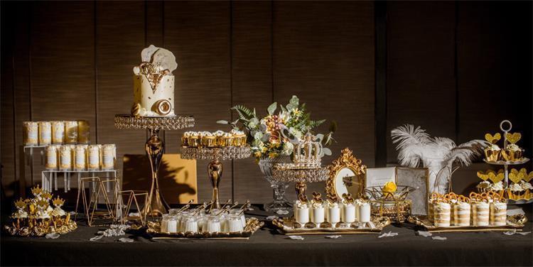 Plated Crystal Mirror Cake Stand Wedding Cake Shelf Dessert Tray Metal Wedding Display Tower
