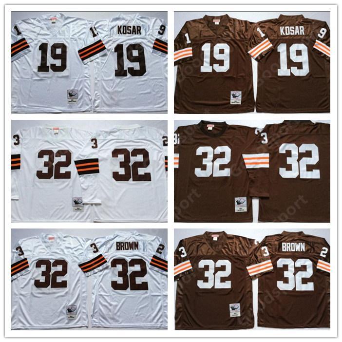buy online c8ad2 eb3af RETRO NCAA 32 Jim Brown jerseys WHITE 19 Bernie Kosar 32 Jim Brown FOOTBALL  shirts classic Sport HOT vintage SALE Embroidered