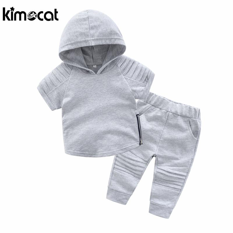 28098b02 Kimocat Spring Autumn Baby Boy Clothes Suits 2pcs Hooded+pants 100% Cotton Children  Clothing Sets Toddler Brand Tracksuits Set J190513