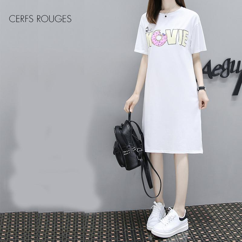 2018 Summer Cotton Cartoon O-Neck women's dress for women female Women's clothing fashion girls Preppy Style Knee-Length dress T5190605