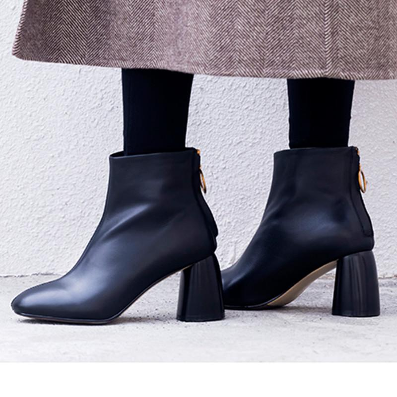 0342d7e4d55 Women Black Leather Ankle Boots 7cm Square High Heels Ladies Short Winter  Booties Shoes Handmade British Ladies Botines Mujer