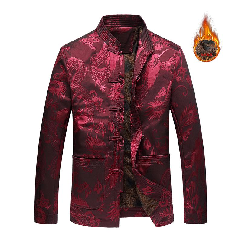 7edda5a16418 Tang Suit Traditional Chinese Jackets Men Garments Long Sleeve Tops Chinese  Costume Style Men's Satin Rayon Coats L-4XL