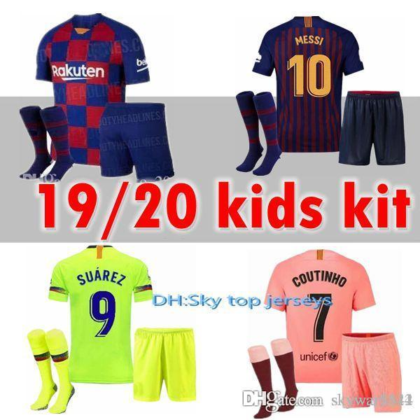 9a009d3c5d 2019 2020 New MESSI SUAREZ Barcelona Kids Jersey Soccer 2019 Camisas Blue  Dembele Messi INIESTA Home Football Shirt 18 19 Kids Kit From Skywar3344