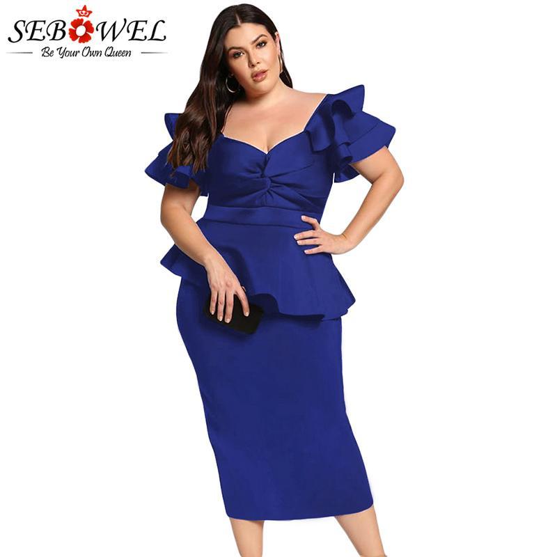 6c53a71d8 Compre SEBOWEL Azul Plus Size Em Camadas De Manga Vestido De Festa Mulheres  Sexy Bodycon Torcido Peplum Vestido Grande Tamanho 5XL Elegante Midi  Vestido De ...