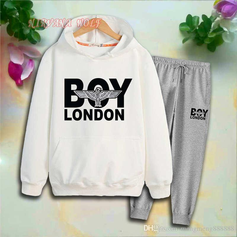BOY Childrens Sports Sets Kids Sets 2-7T Kids Hoodies Pants 2Pcs/sets Boys And Girls 95% Cotton Letters Printing Style Spring suits