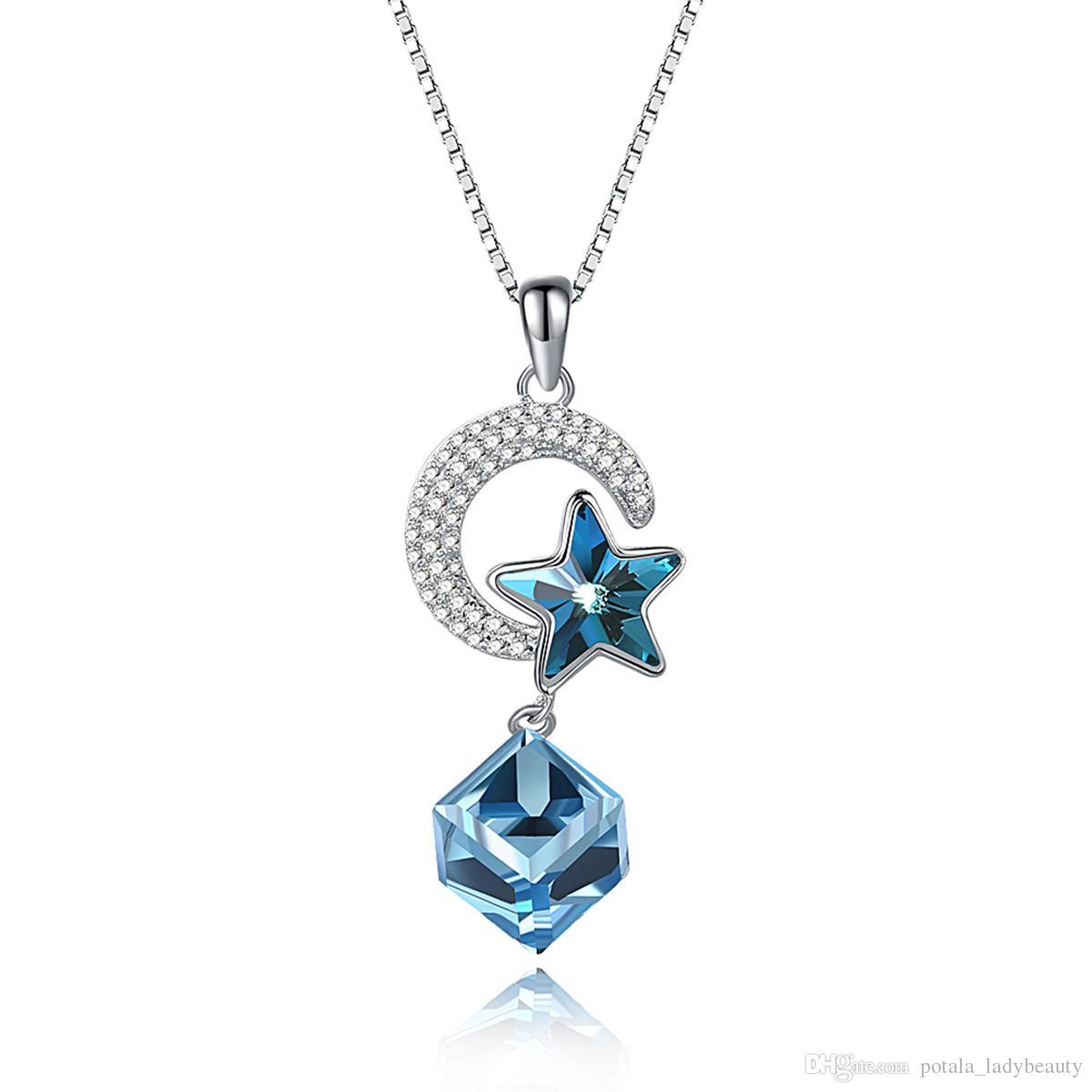 d806678f7dcb Compre Luna Collares Elegante Cristal De Swarovski Elemento Estrella Azul  S925 Collar Colgante De Plata De Ley Circón Aniversario Invisible POTALA256  A ...