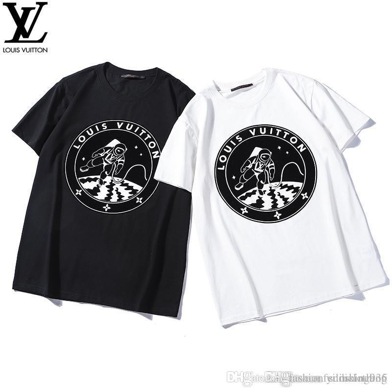 12bd0c660 Compre Pring Verano 2019 Camisetas De Lujo De Manga Corta Carta De Los  Astronautas De París Graphiclogo Camiseta Moda Hombre Mujer Camiseta Casual  Algodón ...