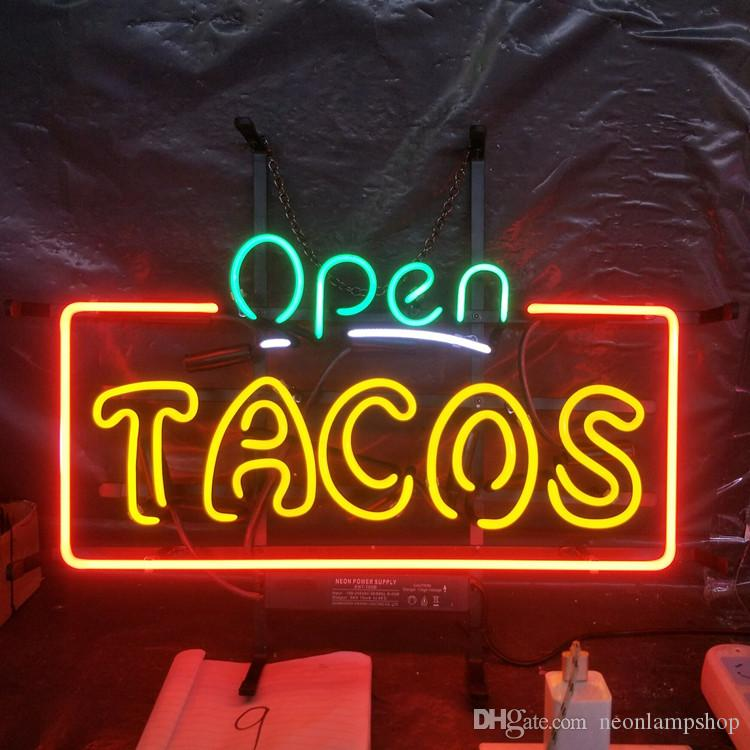 Aperto TACOS Neon Sign Light Bar per pubblicità Spettacolo Club Decorazione Art Display Real Glass Lampada al neon Metal Frame 17 '' 24 '' 30''40 ''