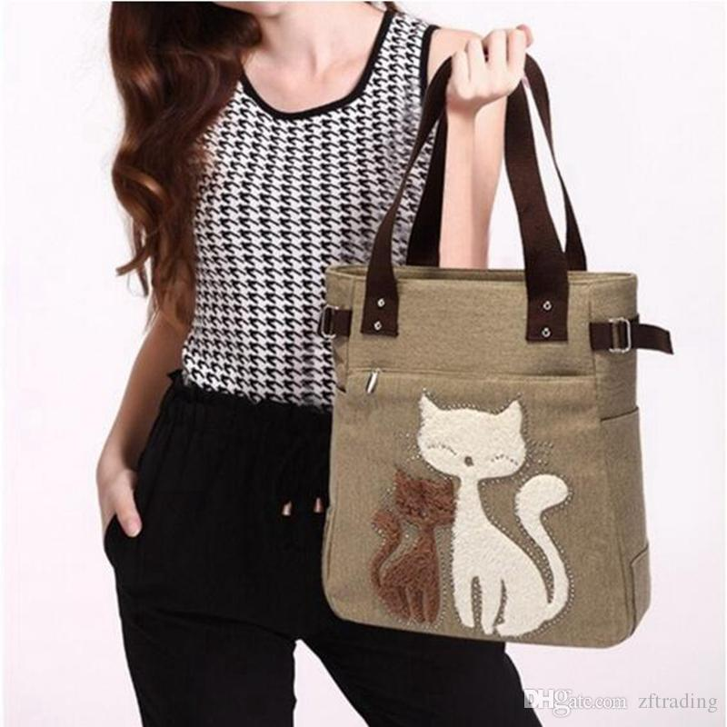 Women's Handbag Canvas Bag with Cute Cat Animal Print Appliques Portable Cartoon Small Bags Girls Package