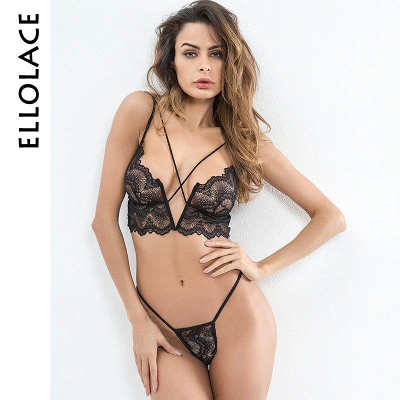 huge selection of 36048 51429 Ellolace Hot Sexy Dessous Spitze Transparent Eingesperrt Bralette V-string  Thongs Bh Set Drahtlose Unterwäsche Damenmode Crop Top C19040401