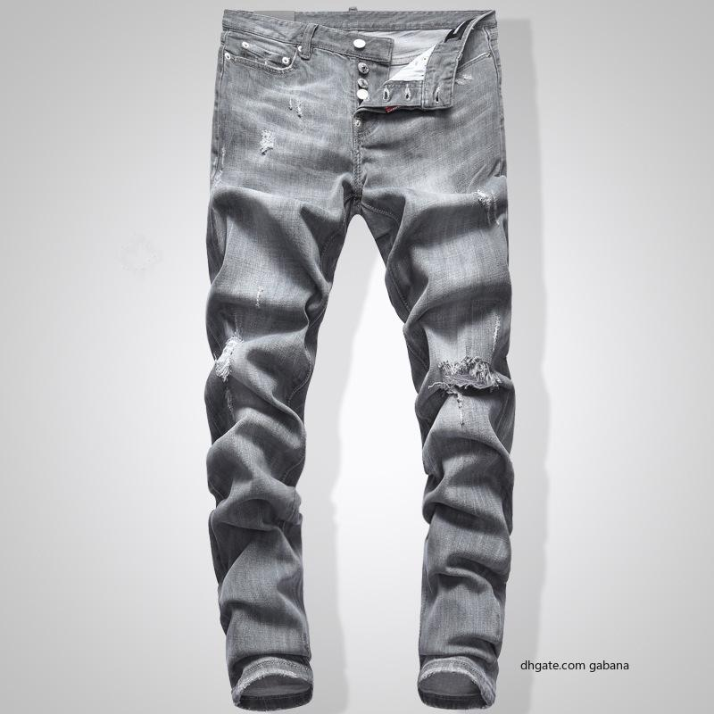 Gris Hommes Jeans Slim Fit Denim Hip Hop Solid Color Streetwear Jeans Biker