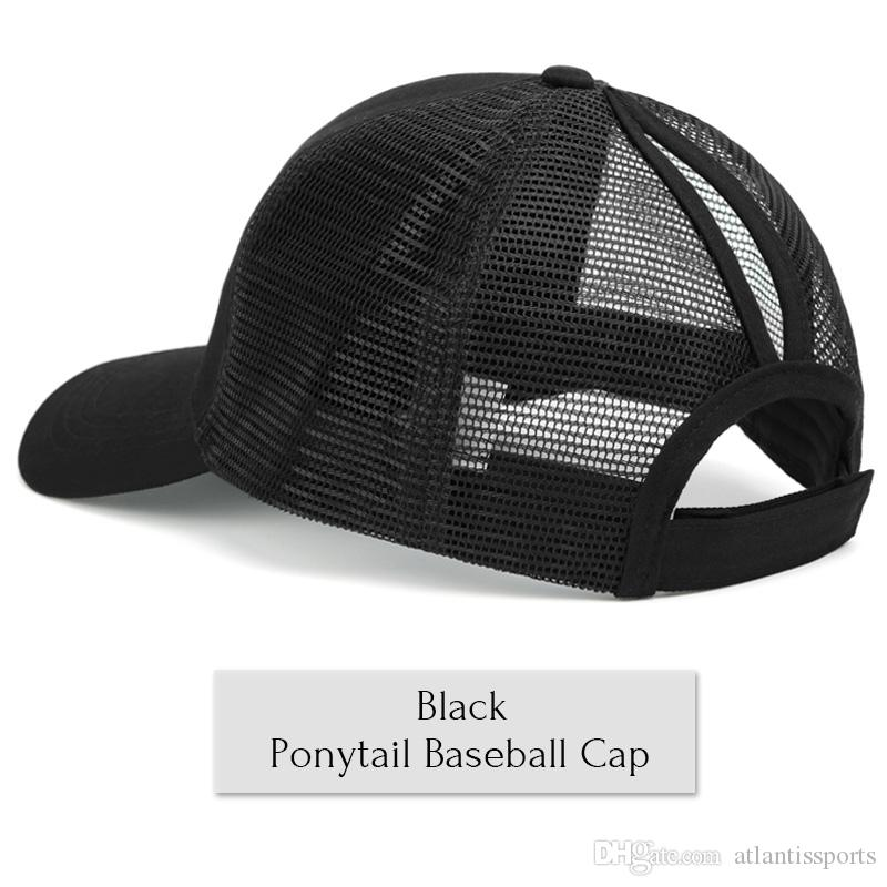 ca5574a3cfd 2019 Wholesale High Quality Women Messy Bun Snapback Summer Mesh Hats  Casual Sport Sequin Caps Hat Cap From Atlantissports, $1.81 | DHgate.Com