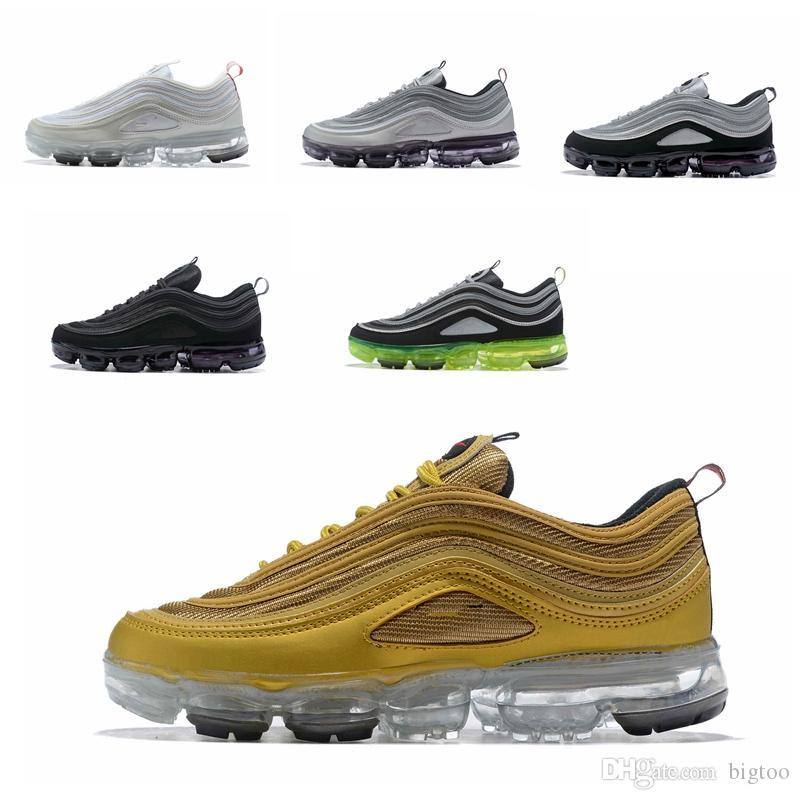 bab2ecbbe253 97 Running Shoes 2018 Men Women Air Cushion Undefeated Silver Metallic Gold  Sports Athletic Run Shoes Outdoor Sneaker Running Shoes Online with   86.84 Pair ...