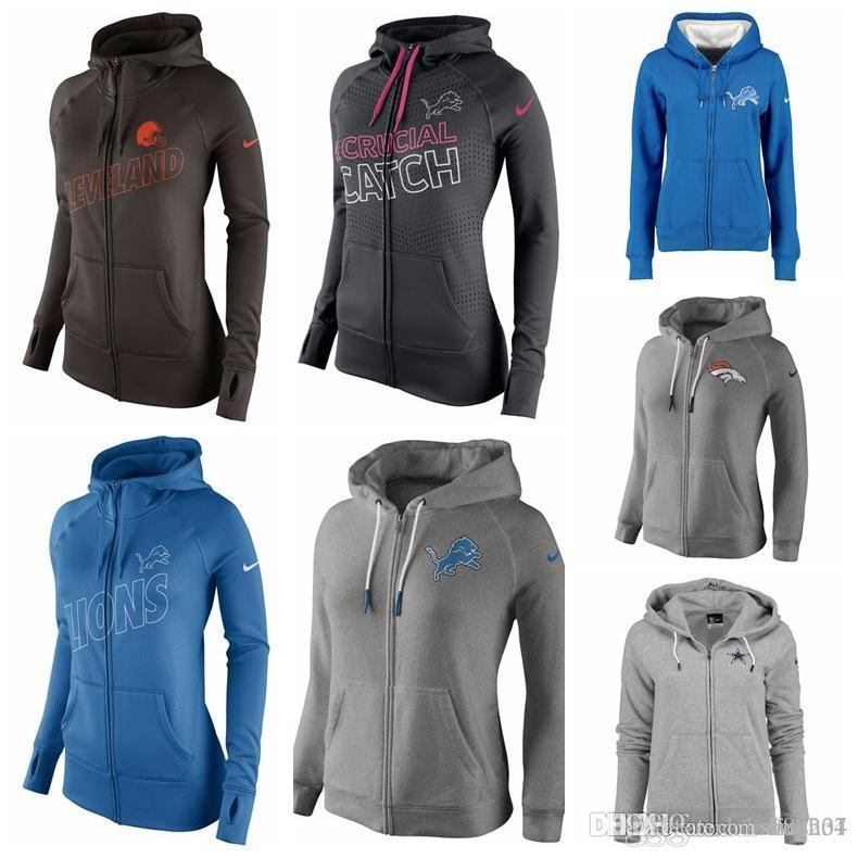 wholesale dealer 1d205 4c361 WOMEN'S DETROIT LIONS DENVER BRONCOS DALLAS COWBOYS CLEVELAND BROWNS  CHARCOAL BREAST CANCER AWARENESS KO FULL-ZIP PERFORMANCE HOODIE