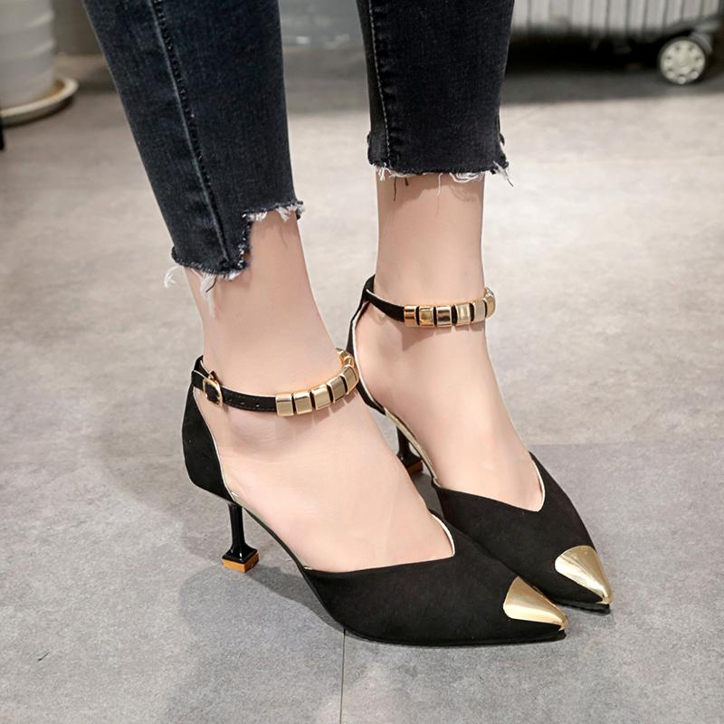 fbd1196f483 Lucyever 2019 Summer Fashion Women Pumps Sexy Thin High Heel Pointed Toe  Ladies Pumps Metal Buckle Strap Shoes Woman Stiletto Purple Shoes Cute Shoes  From ...