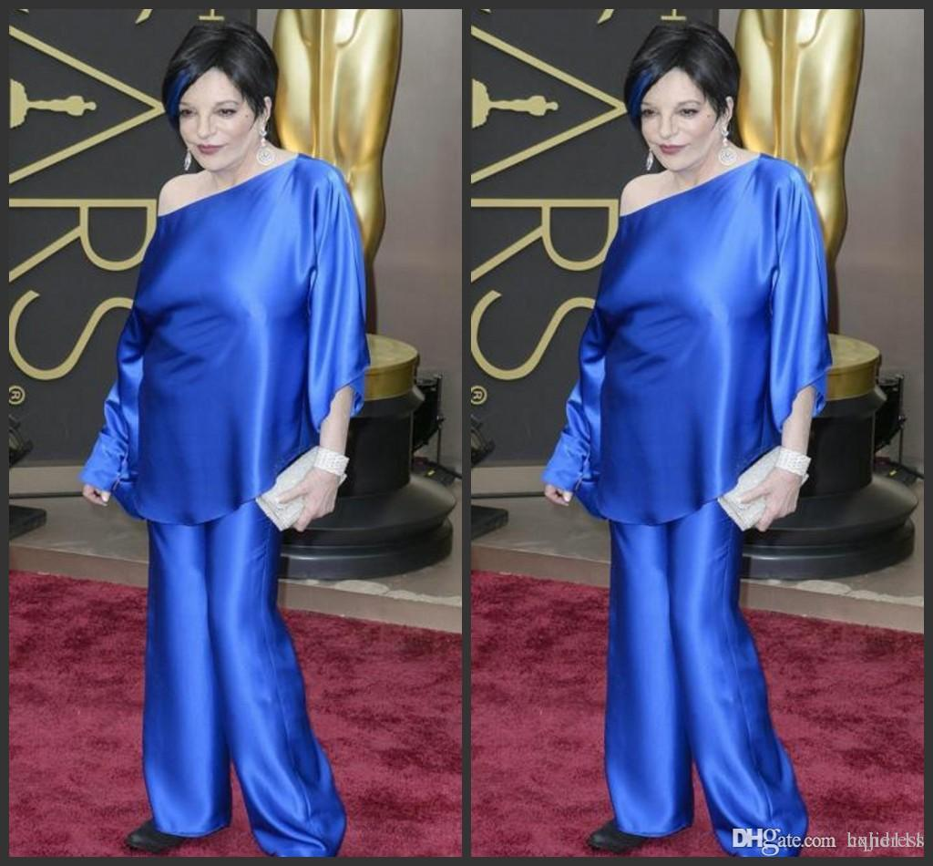 2018 New Liza Minelli In Oscars Trousers Suits Celebrity Gowns Long Sleeves  Evening Dresses Two Pieces Taffeta Plus Size Wide-legged Pants 1