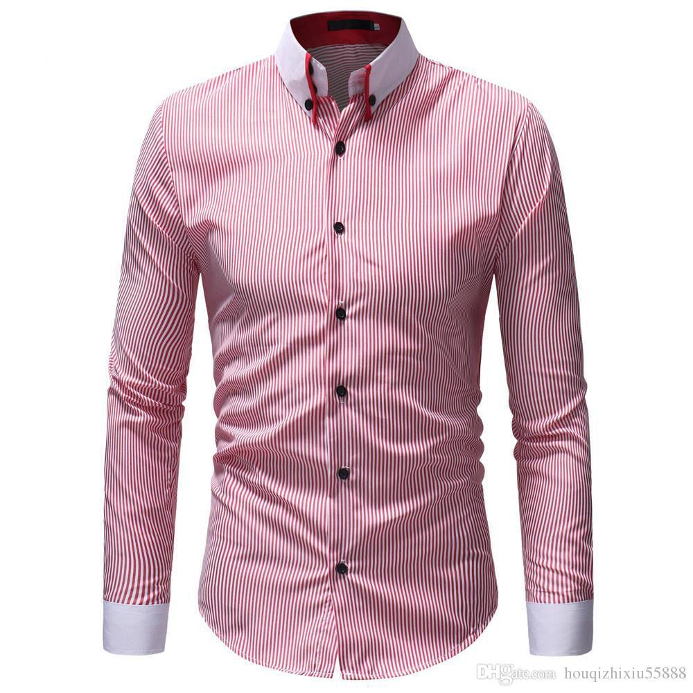 dec1df3a4dc Casual Shirts Men Oxford Slim Fit Shirt Men s Autumn Winter Casual ...