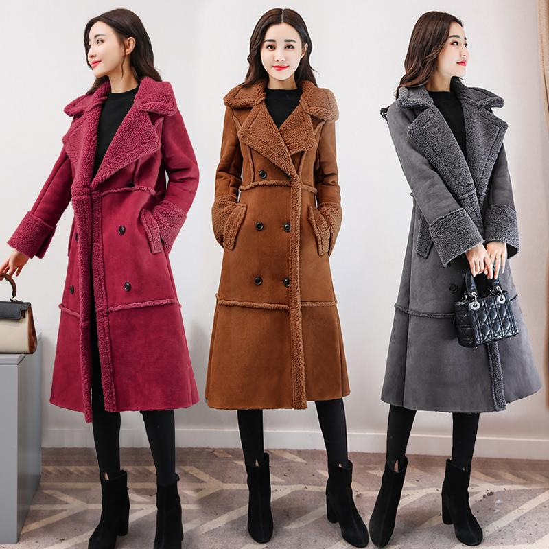 146a1bdf864de 2019 2018 Winter Women Faux Suede Leather Coats Long Faux Lamb Wool  Patchwork Overcoats Shearling Coats Plus Size 3XL 4XL 5XL B360 From  Eventswedding