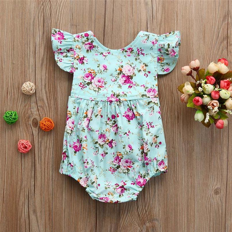 c85282a512f 2019 Summer Girl Clothes Newborn Infant Baby Girl Floral Print Ruffles  Sleeveless Backless Jumpsuit Romper Sunsuit Outfits M8Y03 From Zerocold01